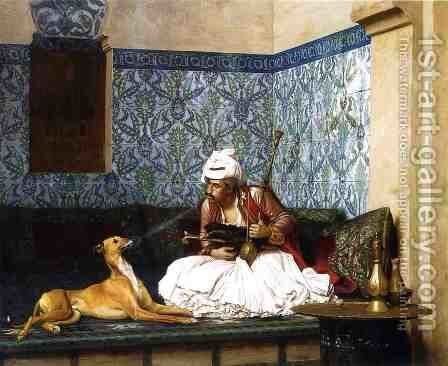 Arnaut Blowing Smoke in His Dog's Nose by Jean-Léon Gérôme - Reproduction Oil Painting