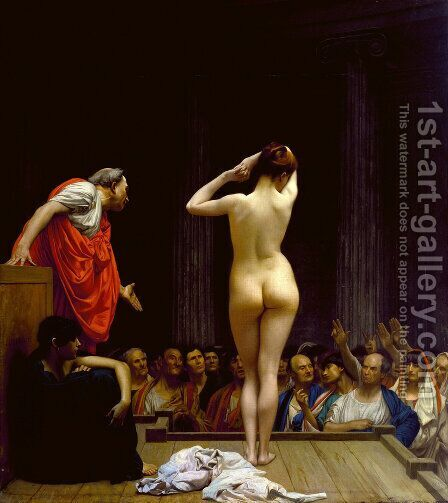 Selling Slaves in Rome by Jean-Léon Gérôme - Reproduction Oil Painting