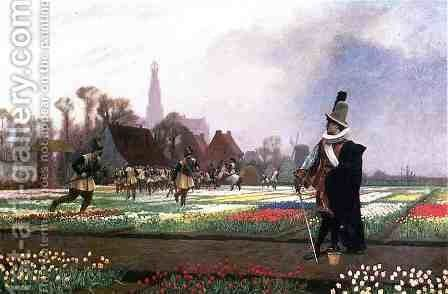 Duel among the Tulips by Jean-Léon Gérôme - Reproduction Oil Painting