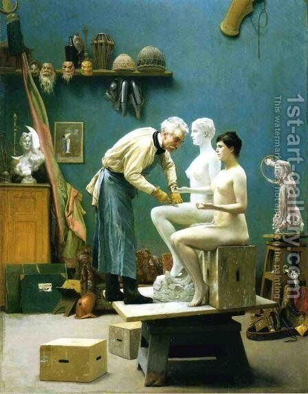 Working in Marble by Jean-Léon Gérôme - Reproduction Oil Painting