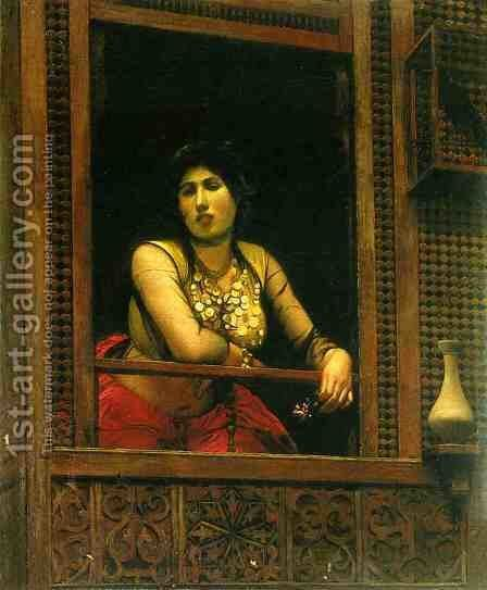 Woman at Her Window by Jean-Léon Gérôme - Reproduction Oil Painting