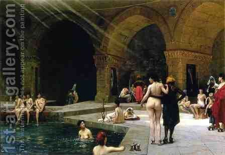 Grande Piscine de Brousse by Jean-Léon Gérôme - Reproduction Oil Painting