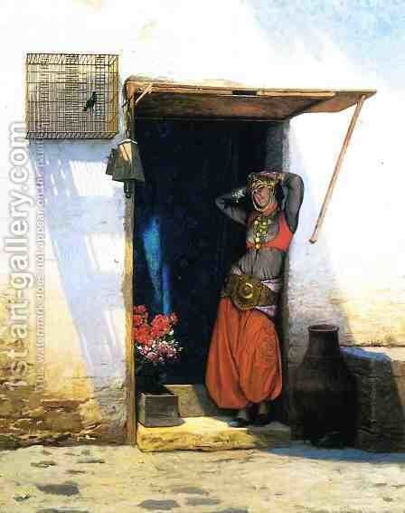 Woman from Cairo at Her Door by Jean-Léon Gérôme - Reproduction Oil Painting