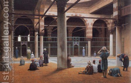 Interior of a Mosque by Jean-Léon Gérôme - Reproduction Oil Painting