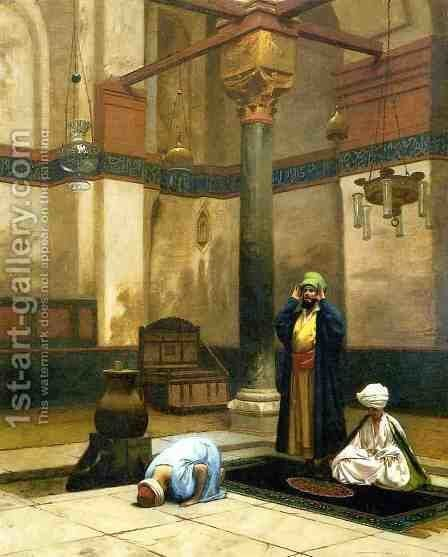 Three Worshippers Praying in a Corner of a Mosque by Jean-Léon Gérôme - Reproduction Oil Painting