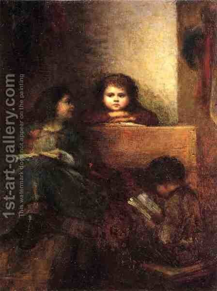 Children Reading by Eastman Johnson - Reproduction Oil Painting