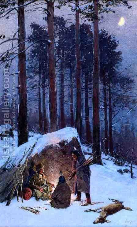 Moonlit Indian Encampment by Henry Farny - Reproduction Oil Painting