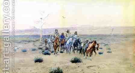 Trappers Crossing the Prarie by Charles Marion Russell - Reproduction Oil Painting