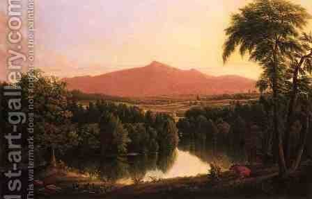 Landscape by a River with Mountains in the Distance by Jesse Talbot - Reproduction Oil Painting