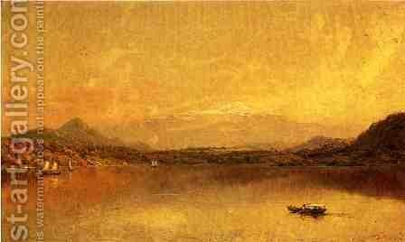Autumn Landscape with Boaters on a Lake by Jasper Francis Cropsey - Reproduction Oil Painting
