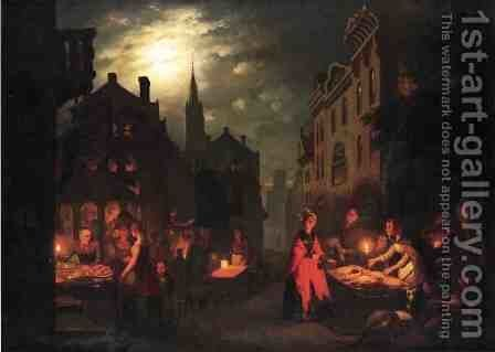 Night Market by Johann Mongels Culverhouse - Reproduction Oil Painting