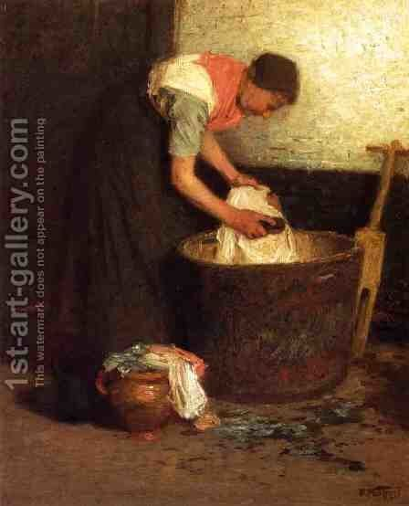 The Washerwoman by Edward Henry Potthast - Reproduction Oil Painting