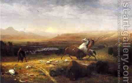 Last of the Buffalo by Alfred Jacob Miller - Reproduction Oil Painting