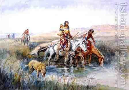 Indian Women Moving Camp by Charles Marion Russell - Reproduction Oil Painting