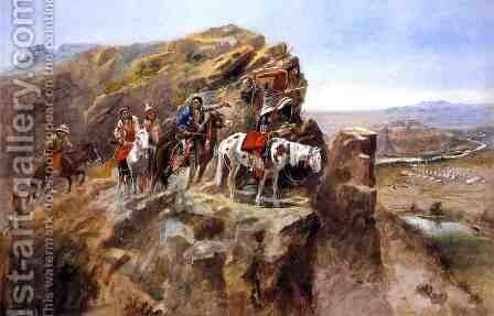 Indians on a Bluff Surveying General Miles' Troops by Charles Marion Russell - Reproduction Oil Painting