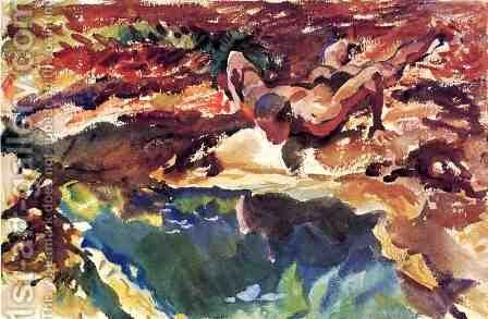 Figure and Pool by Sargent - Reproduction Oil Painting