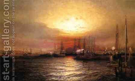 Sunrise from Chapman Dock and Old Brooklyn Navy Yard, East River, New York by Elisha (Taylor) Baker - Reproduction Oil Painting