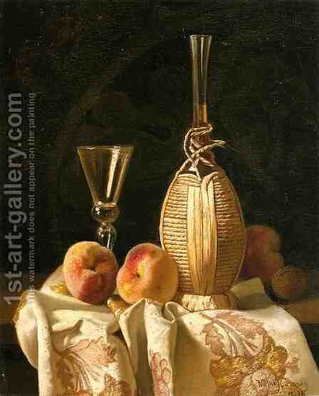 Still Life with Peaches and Wiine by Milne Ramsey - Reproduction Oil Painting