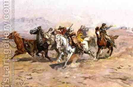 Outnumbered by Charles Marion Russell - Reproduction Oil Painting