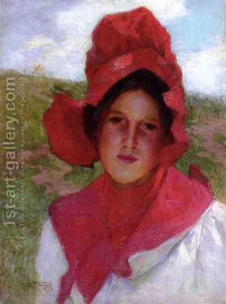 Girl in a Red Bonnet by Edward Henry Potthast - Reproduction Oil Painting