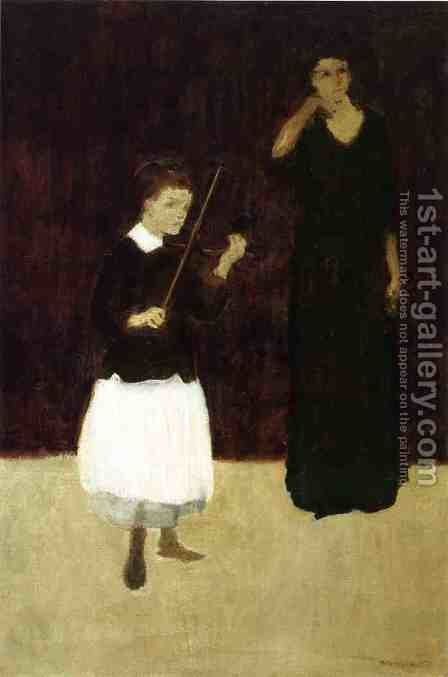The Violin Lesson by Arthur Bowen Davies - Reproduction Oil Painting