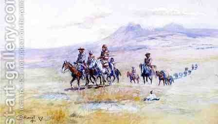 Coming across the Plain by Charles Marion Russell - Reproduction Oil Painting