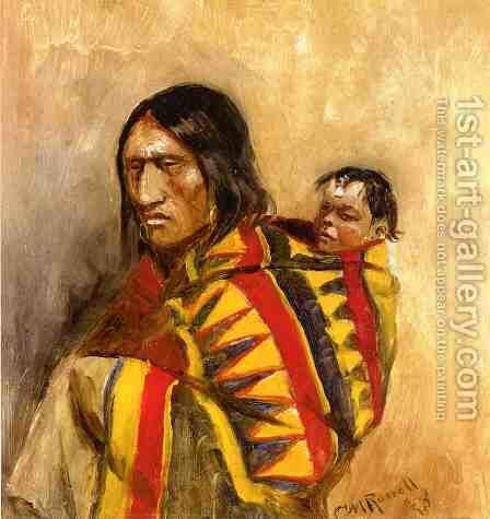 Stone-in-Moccasin Woman by Charles Marion Russell - Reproduction Oil Painting