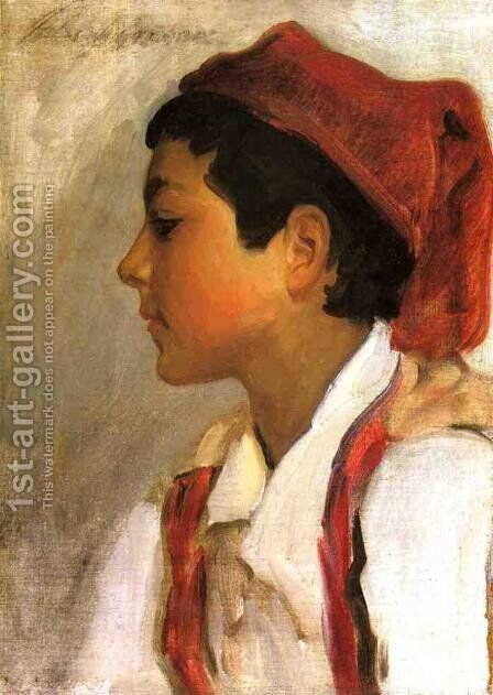 Head of a Neapolitan Boy in Profile by Sargent - Reproduction Oil Painting