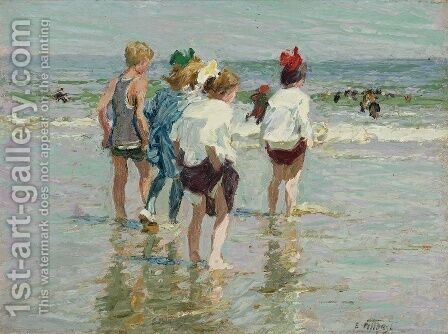 Summer Day, Brighton Beach by Edward Henry Potthast - Reproduction Oil Painting