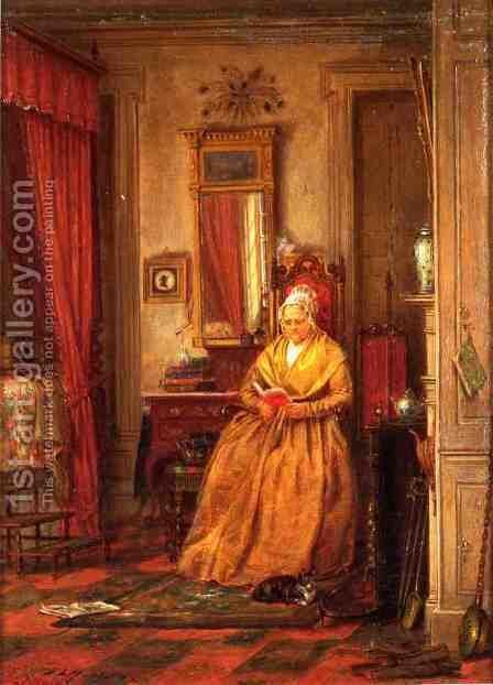At Home with a Good Book by Edward Lamson Henry - Reproduction Oil Painting