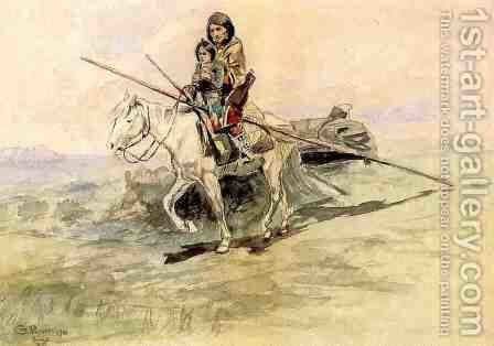 Indian on Horseback with a Child by Charles Marion Russell - Reproduction Oil Painting