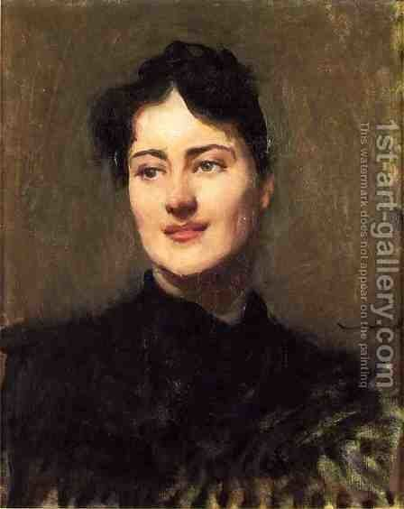 Portrait of a Woman by Dennis Miller Bunker - Reproduction Oil Painting