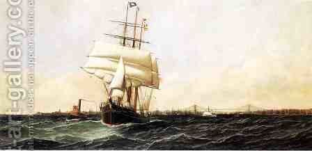 "The ""American"" Leaving New York Harbor by Antonio Nicolo Gasparo Jacobsen - Reproduction Oil Painting"
