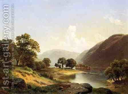 Mountain Landscape with River, Near Philadelphia by Gottlieb Daniel Paul Weber - Reproduction Oil Painting