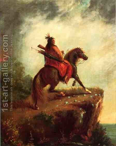 Indian Scout on Horse Back by Alfred Jacob Miller - Reproduction Oil Painting