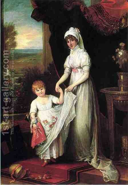 Mrs Thomas Keyes and Her Daughter by Benjamin West - Reproduction Oil Painting