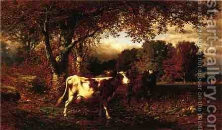 Landscape with Cattle by James McDougal Hart - Reproduction Oil Painting