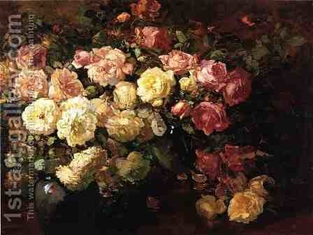 Still Life with White and Pink Roses by Franz Bischoff - Reproduction Oil Painting