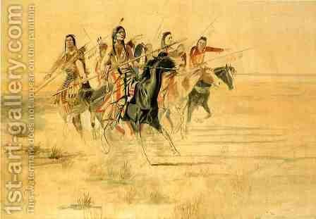 Indian Hunt by Charles Marion Russell - Reproduction Oil Painting