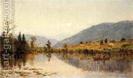 Fishing on a Lake by Jasper Francis Cropsey - Reproduction Oil Painting