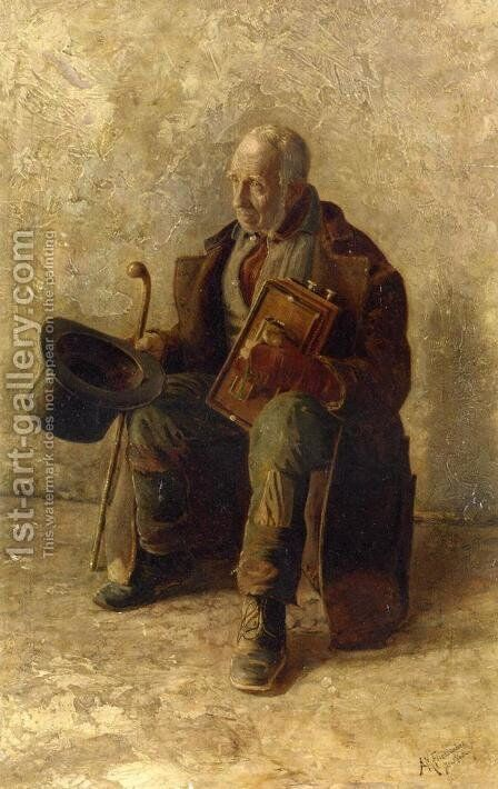 Street Musician by Augustus Maurice Friedlander - Reproduction Oil Painting