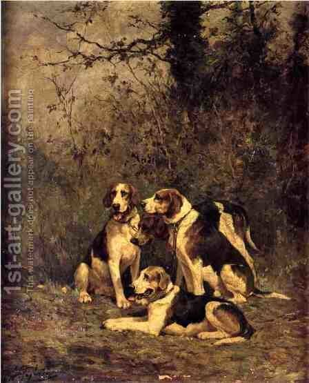Hounds at Rest by Charles Olivier De Penne - Reproduction Oil Painting