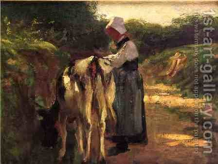 Grazing by the Roadside by Edward Henry Potthast - Reproduction Oil Painting