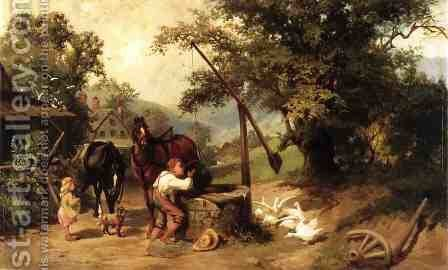At the Well by Henry T. Cariss - Reproduction Oil Painting