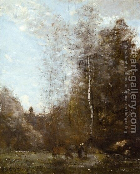 A Cow Grazing beneath a Birch Tree by Jean-Baptiste-Camille Corot - Reproduction Oil Painting