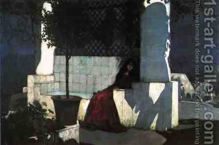 Woman Sitting in the Moonlight by Charles Caryl Coleman - Reproduction Oil Painting