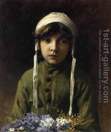 The Little Flower Girl by Charles Sprague Pearce - Reproduction Oil Painting