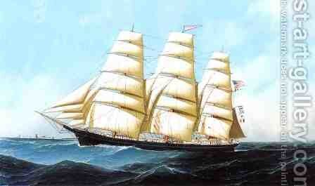 "The Clipper Ship ""Triumphant"" by Antonio Nicolo Gasparo Jacobsen - Reproduction Oil Painting"