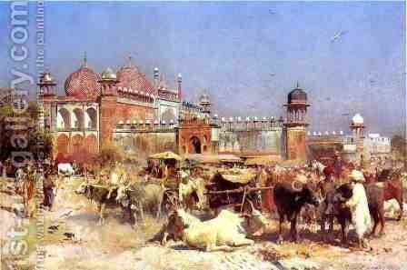 Market Place at Agra by Edwin Lord Weeks - Reproduction Oil Painting