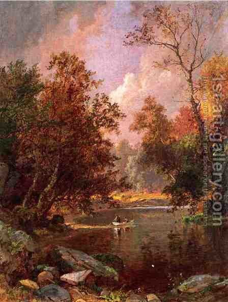 Autumn River Landscape by Jasper Francis Cropsey - Reproduction Oil Painting